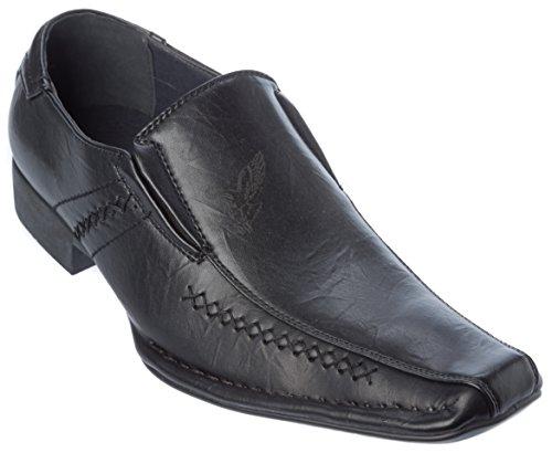 Alberto Fellini Mens Oxford Slip-on Pu Chaussures Habillées En Cuir Noir