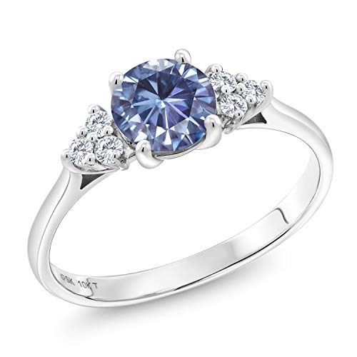 (Gem Stone King 10K White Gold Solitaire w- Accent Stones Ring Round Persian Blue Created Moissanite and Lab Grown Diamond G - H 1.00ct (DEW) (Size 7))