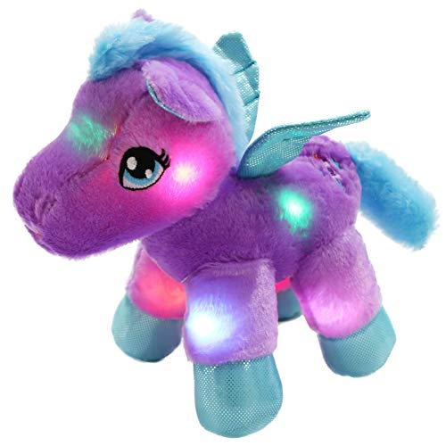 Bstaofy WEWILL LED Pegasus Stuffed Animal Glow Unicorn Soft Toys, Nightlight Companion Gifts, 11'', -