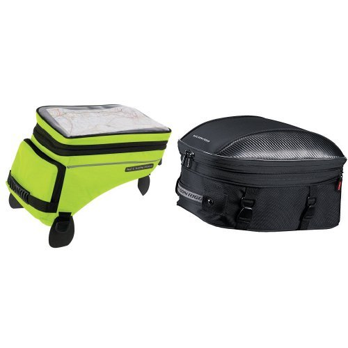Nelson-Rigg (CL-1055 Hi-Visibility Yellow Adventure Touring Tank Bag and CL-1060-ST Black Sport Touring Tail/Seat Pack Bundle ()