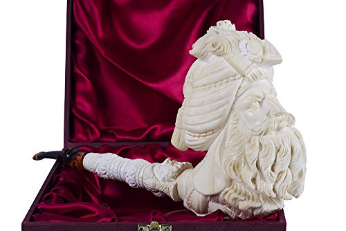 3 Faced Sultan Pipe – Hand Made Turkish Meerschaum Tobacco Pipe – Unique Design – Luxury Home & Office Decoration…