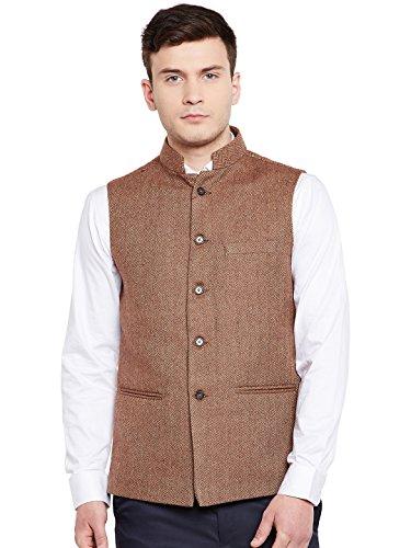 WINTAGE Men's Wool Blend Grandad Nehru Jacket Vest Waistcoat: Brown, M