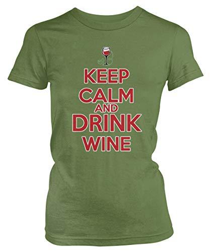 (Amdesco Junior's Keep Calm and Drink Wine T-Shirt, Moss Green Large)