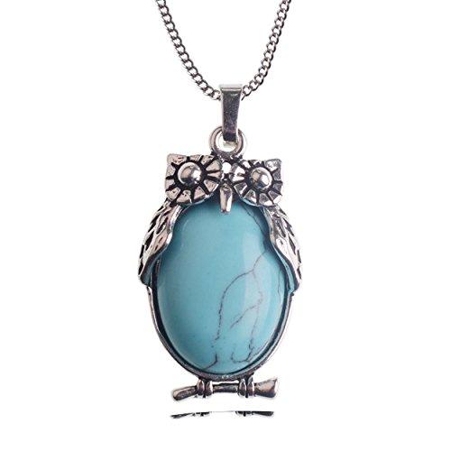 Owl Pendant Necklace Chakra Stone Charm Vintage