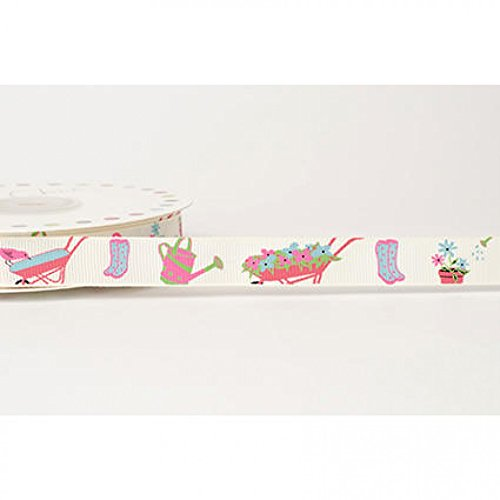 (16mm Reel Chic Garden Print Grosgrain Ribbon Antique White - per metre)