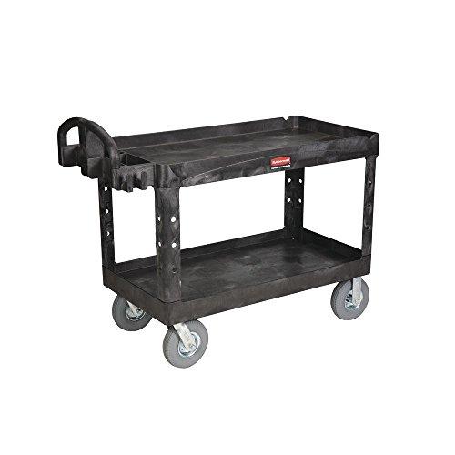 (Rubbermaid Black Plastic 2-Shelf Lipped Top Heavy-Duty Utility Cart - 55