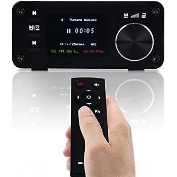 SMSL SA-50 PLUS 50WX2 HIFI Amplifier/DAC/Music Player w/ Remote Control,Digital Power Amplifier,TAS5766M, OLED Display, USB/SD Reader, 3.5mm AUX/Optical Input Jack, Full Digital