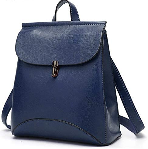 Color : Blue TangFeii Luc Ladies Fine Oil Leather Drawstring Popular Fashionable Waterproof Rucksack Shoulder Bag 2way Commuter Trip