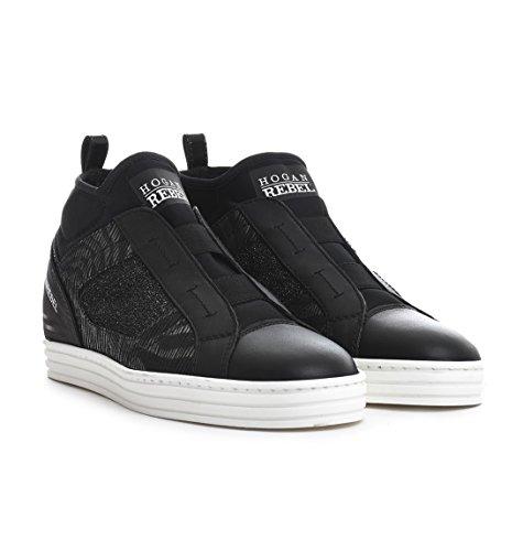 Hogan Rebel Damen HXW1820V990ELV0564 Schwarz Leder Hi Top Sneakers