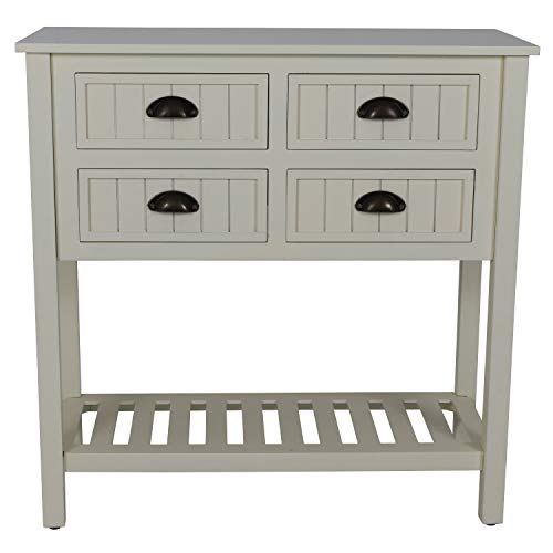 Décor Therapy Bailey Bead 4-Drawer Wood Console Table Antique White ()