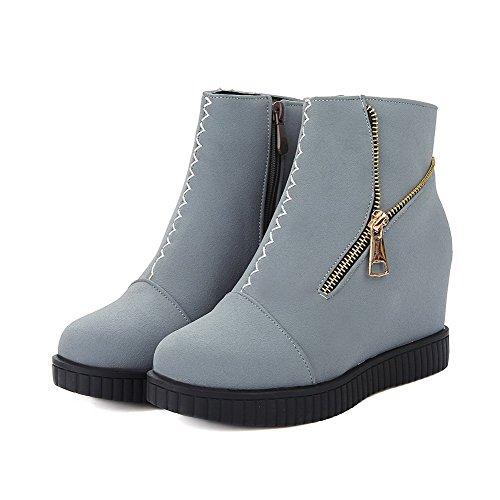 Allhqfashion Mujeres Round Closed Toe Tacones Altos Frosted Low Top Solid Botas Gris