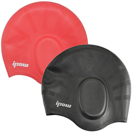 2 Pack,Ipow® Solid Silicone Long Hair Swim Cap for Men and Women, Red and Black Color