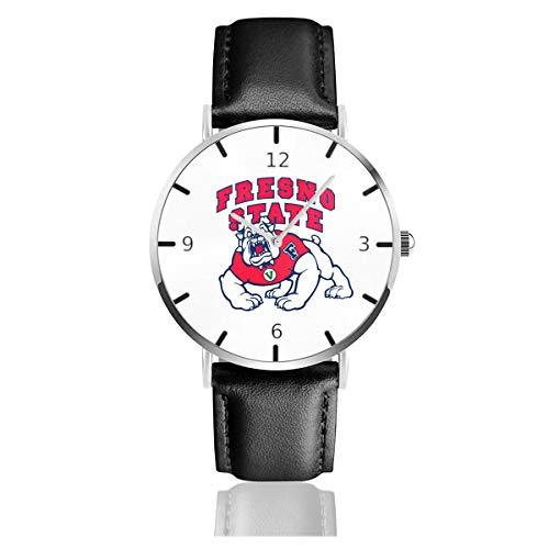 Men's Fashion Minimalist Wrist Watch Fresno State Bulldogs Football Leather Strap - Leather Fresno