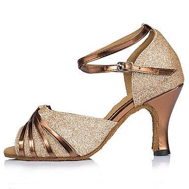 XIAMUO Anpassbare Damen Tanz Schuhe funkelnden Glitter funkelnden Glitter Latin Heels entzündete Ferse Praxis Anfänger Indoor Outdoor Performance, Gold, Us7.5/EU38/UK5.5/CN 38
