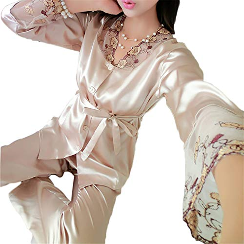 High end 2PCS Women Spring Autumn Silk Pajamas Sets Lady Nightdress Female Home Clothes Homewear