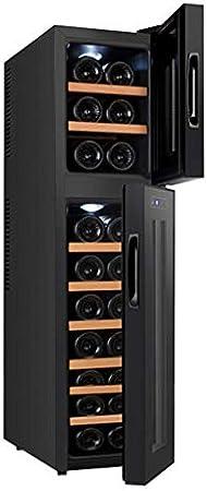 YFGQBCP 18 Botella termoeléctrica rojo y negro del refrigerador de vino, un funcionamiento silencioso termoeléctrica Vino Frigorífico independiente Pequeño Vino Refrigerador- disponible en tres modelo