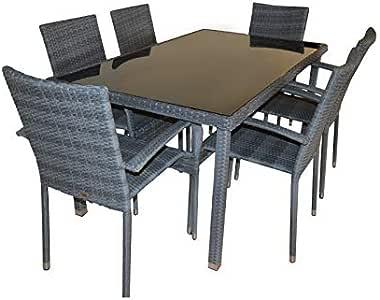 Kiefer Garden Conjunto de Muebles de Exterior para Jardín o Terraza | Incluye 1 Mesa de Comedor + 6 Sillas Apilables | Color Gris | Acero Inoxidable y Ratán Sintético: Amazon.es: Jardín