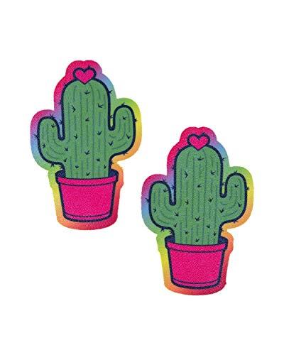 iHeartRaves Green Cactus Cutie Rainbow Trim Rave Pasties (Set of 2 Pasties)