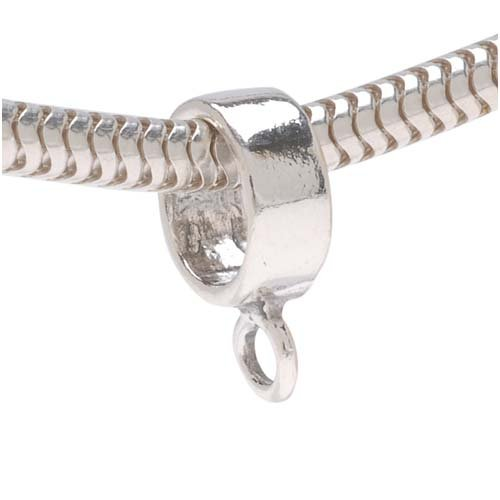 Loop Silver Charm - Beadaholique Bail to Attach Charm Bead, 4mm, Sterling Silver