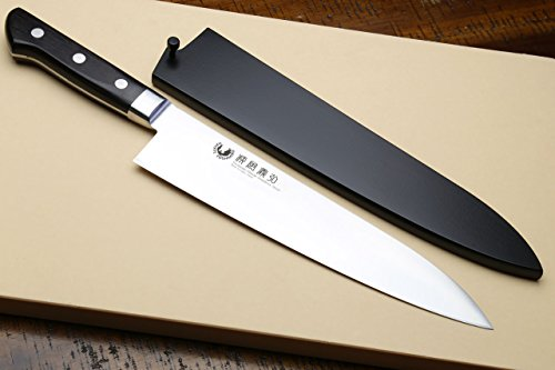 Yoshihiro Ginsan-ko High Carbon Stain Resistant Steel Western Style Gyuto Japanese Chef's Knife 8.25 In with Nuri Saya Cover by Yoshihiro