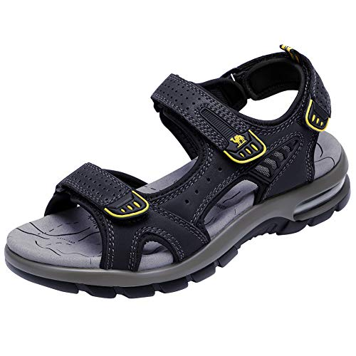 CAMEL CROWN Men's Sandals Summer Leather Open Toe Sandals Casual Strap Fisherman Sandals for Outdoor Hiking Walking Beach (8.5 US, Black) ()