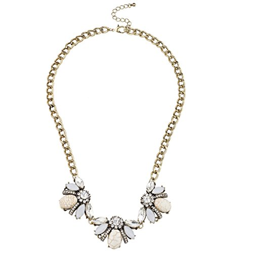 Lux Accessories Burnished Goldtone Crystal Rhinestone Ivory Statement Necklace (Ivory Womens Necklace)
