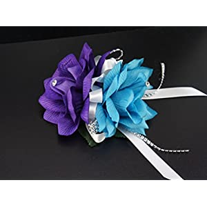17pc Wedding Bridal Party Bouquets Boutonniere - Turquoise, Purple, Silver - Silk Roses Flowers 2