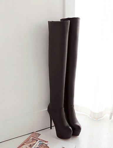 5 Vestido Tacón Zapatos Botas Y negro Xzz Uk4 5 Stiletto us6 Cn37 Sintético Oficina Casual Cuero Trabajo Redonda Eu37 Cerrada Punta De 5 7 Mujer Brown Aqdwdx7H