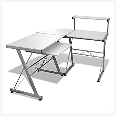 K&A Company Computer Desk Workstation with Pull Out Keyboard Tray White