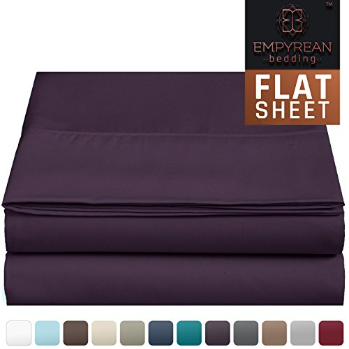 Premium Flat Sheet - Luxurious & Soft King Size Linen Flat Purple Eggplant Sheets - Hotel Quality Brushed Microfiber (Single) Flat Bed Sheet Hypoallergenic Bedroom Essentials By Empyrean Bedding