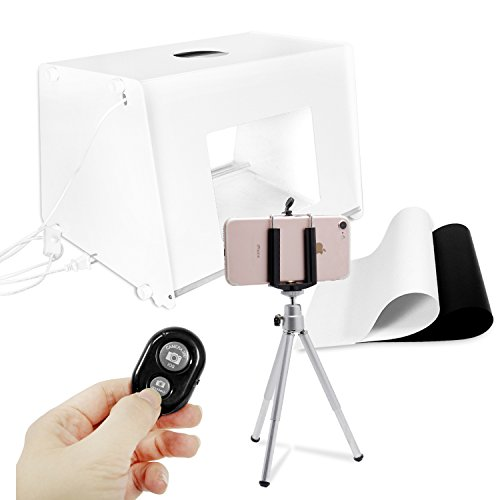 LS Photography 9 x 12 inch White Portable Table Top Studio Light Diffuser Lighting Box Kit with Black & White Backdrop, Mini Travel Tripod, Phone Holder Adapter, and Bluetooth Remote Shutter, LGG769 by LS Photography