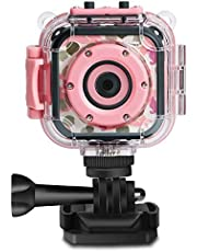 DROGRACE Kids Camera 1080P Digital Photo/Video Cameras Underwater Action Cam Waterproof 98feet for Children with 1.77 LCD and Digital Zoom - Pink