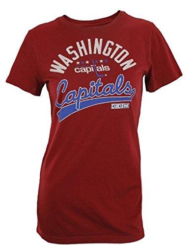 Ccm Vintage Cap - CCM Washington Capitals NHL Women's Short Sleeve Lifestyle Tee - Maroon (Small)