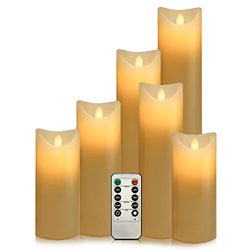 Air Zuker Set of 6 Flameless Candles Pillar LED Candle Battery Operated Candles Flickering Dancing LED Candle Real Wax Candle Motion Candle with Timer and 10-key Remote