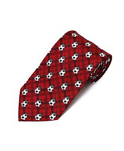 Parquet Men's Red Soccer Balls Sports Necktie Neck Tie Neckwear
