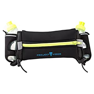 Hydration Belt From Project Vigor. Sweat Resistant Runners Waist Pack for Men & Women. Bounce free bottle holder and pouch that fits iPhone 7 plus. Includes two 6oz BPA Free Water Bottles