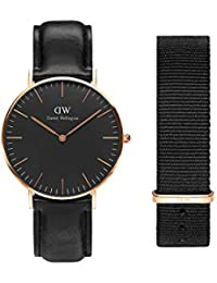Gift Set, Classic Black Sheffield 36mm Watch with Cornwall Nato Strap