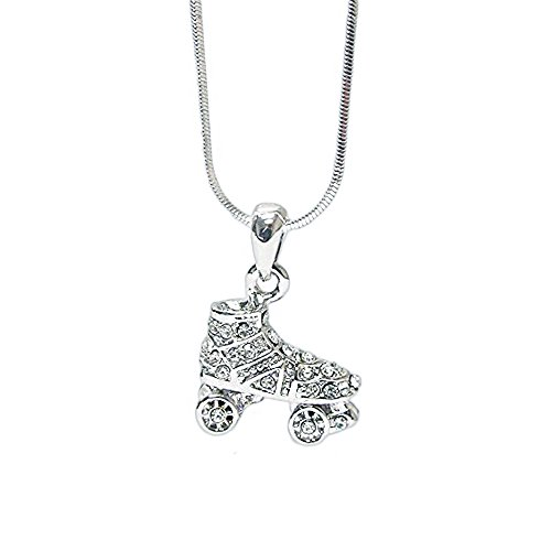 Lola Bella Gifts Crystal Roller Skate Skating Pendant Necklace with Gift Box]()