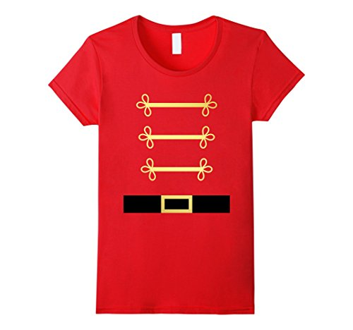 [Womens Toy Soldier Nutcracker costume uniform tShirt Small Red] (Woman Toy Soldier Costume)