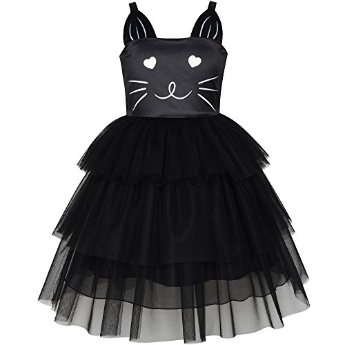 LT66 Girls Dress Cat Face Black Tower Ruffle Dancing Party Size 10