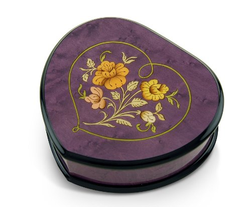 Elegant Lavender/Purple Heart Shaped Music Jewelry Box with Floral in Heart Inlay - Aloha Oe, H.M.O - SWISS by MusicBoxAttic