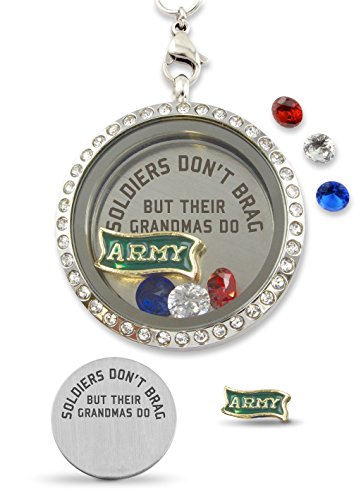"(""Army Soldiers Grandmas Brag"" Floating Charm Living Memory Locket Magnetic Closure 30mm Stainless Steel Pendant Necklace with Crystal Charms)"