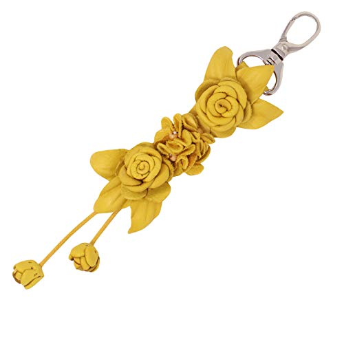 (Genuine Leather Handmade Twin Rose Charms   Tassel for Bags Purse Backpack   Stainless Steel Keyring   Unique Gift Idea (Yellow))
