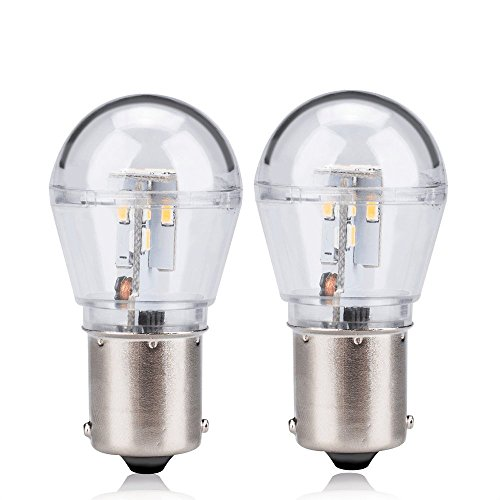 Zitrades 2PCS BA15S S8 LED Bulb Warm White Waterproof LED Light Bulb 12V AC/DC for Car, Boat, RV Lights