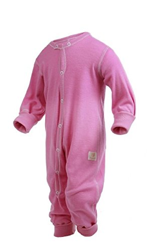 Janus 100% Merino Wool Baby Toddler Pyjama Playsuit Made in Norway 1 Year Pink by Janus