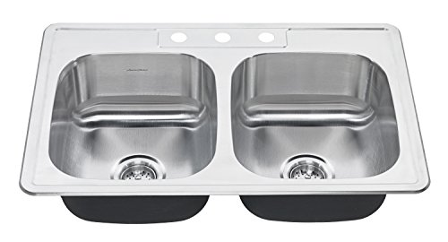 American Standard 22DB.6332283S.075 Colony Top Mount ADA 33x22 Double Bowl Stainless Steel 3-hole Kitchen Sink,