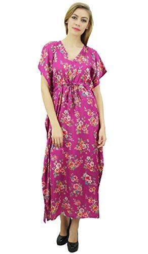 Bimba Women's Long Satin Maxi Drawstring Floral Kaftan Kimono Pink Gown - 14 - Drawstring Gown
