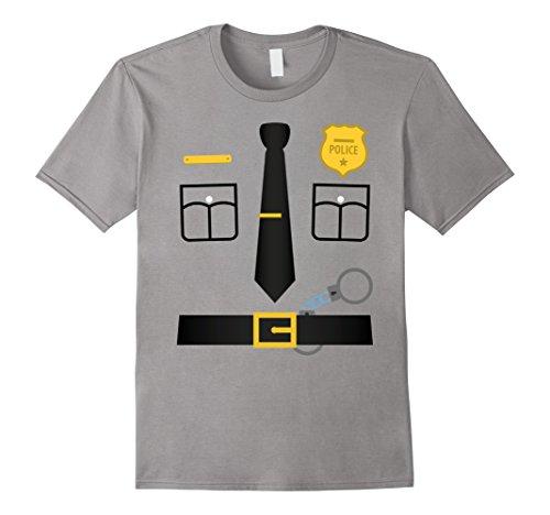 Male Policeman Costume (Mens Policeman Costume T-Shirt Halloween Outfit Kids Adult Tee XL Slate)
