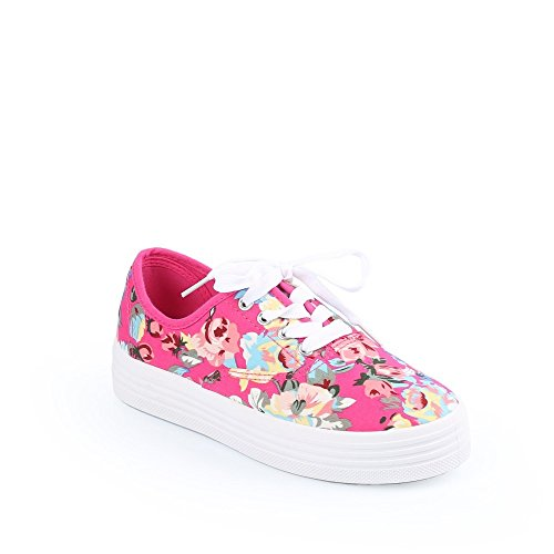Ideal Shoes Sneaker Pflanze zu Plattformen Taube Fuchsia