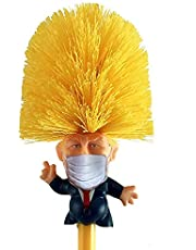 Donald Trump Face Mask Toilet Bowl Brush Cleaner with Holder Stand & Storage - Novelty Bowl Cleaner for Household Bathroom - Funny President's Head Cleaning Scrubber - Fun Political Gag Gifts - Trump Memorabilia Orange Yellow -Mobi Lock